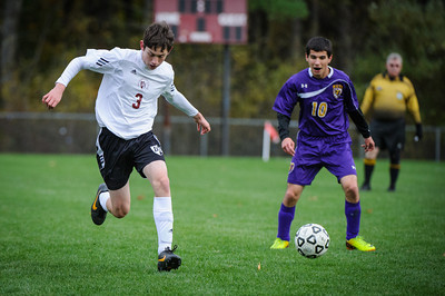 Varsity soccer between Nute (purple) and Derryfield (white) held on October 24, 2013 at the The Derryfield School in Manchester, NH.