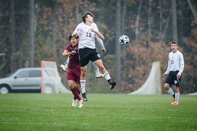 Varsity soccer playoff game between Portsmouth Christian Academy (maroon) and Derryfield (white) held on October 31, 2013 at the The Derryfield School in Manchester, NH.