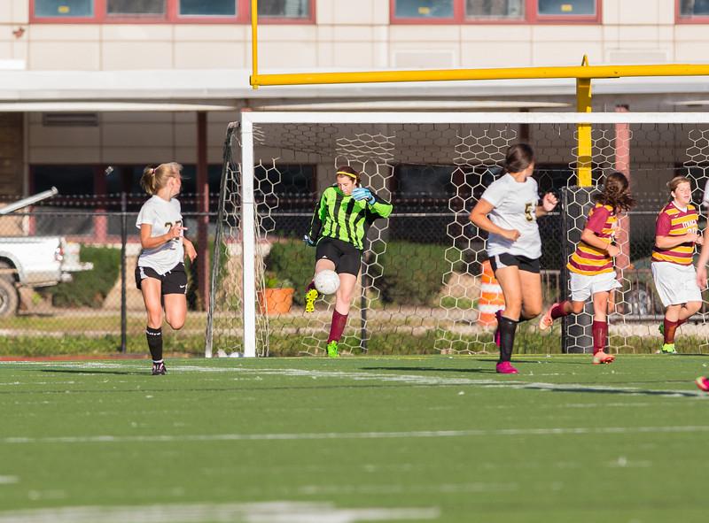 Girls High School Junior Varsity Soccer.  Ithaca Little Red at Corning Hawks. September 5, 2013.