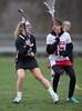 Girls High School JV Lacrosse, Corning Hawks at Ithaca Little Red. April 11, 2013.