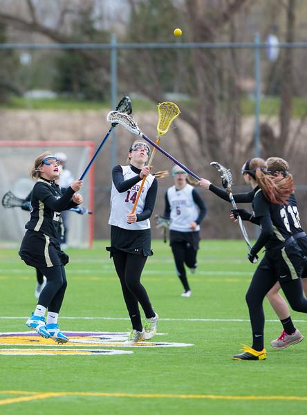 Girls Junior Varsity High School Lacrosse.  Corning Hawks at Pittsford Panthers.  April 13, 2013.