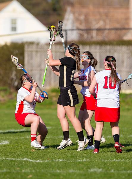 Girls High School Junior Varsity Lacrosse.  Corning Hawks at Binghampton Patriots.  April 26, 2013.