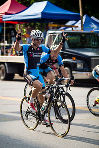 Cyclists compete in the 2013 Dealer.com Queen City Criterium in Burlington, VT. The race is the fourth stage of the Green Mountain Stage Race.