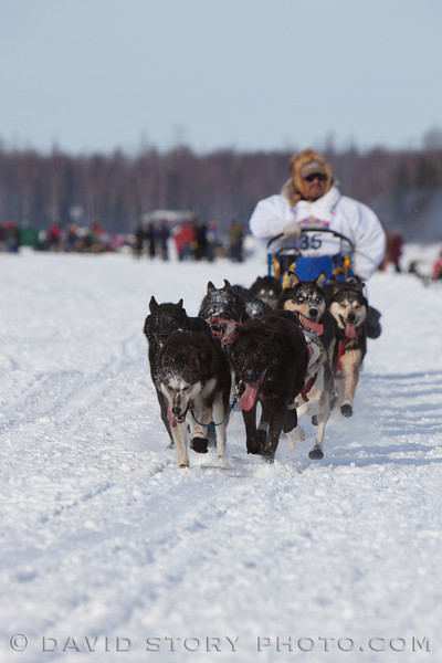 Mike Williams Sr. conserves energy early in the 2013 Iditarod.
