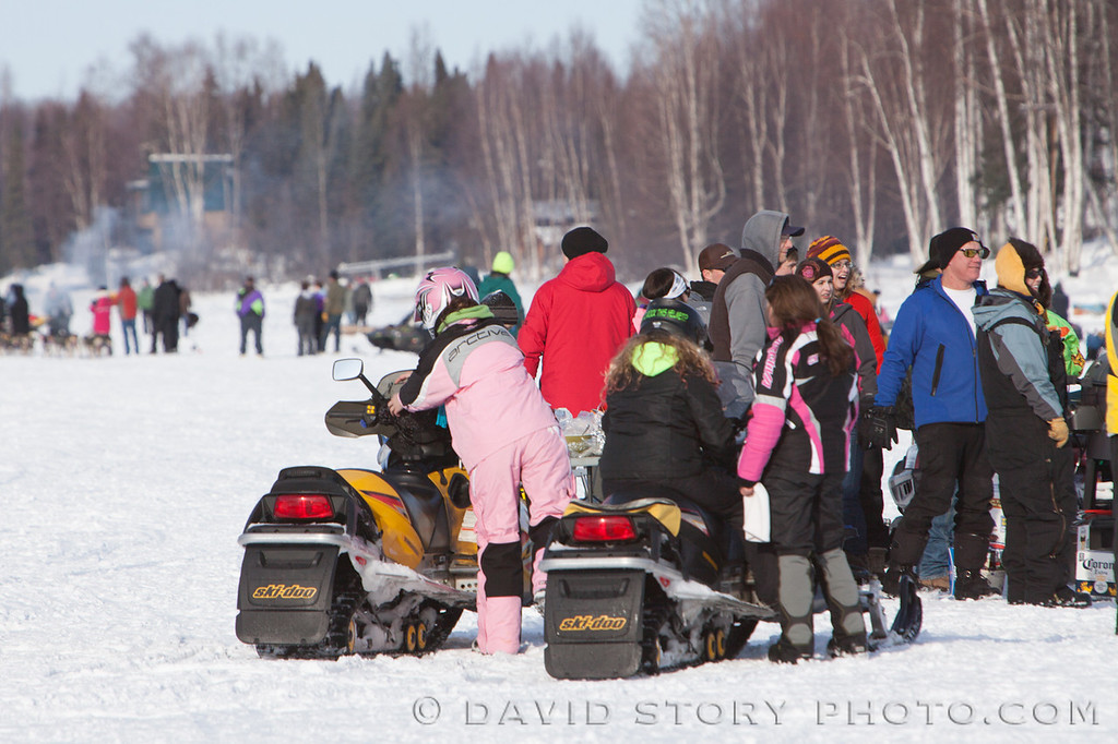 Pink has made its way into all types of activities including snowmachining.