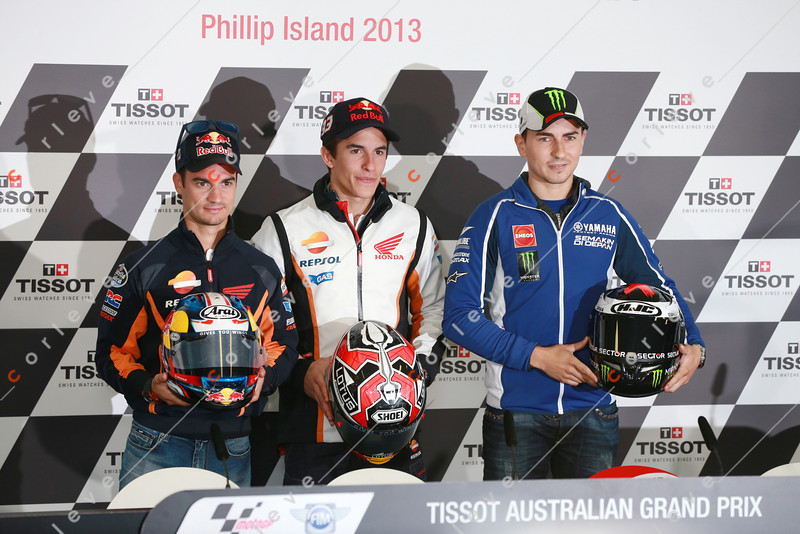 World Moto GP Championship. Round16 @Phillip Island. Australia. <br /> TISSOT Australian Motorcycle Grand Prix. Thuresday. 17.10.2013.<br /> <br /> Ath the conference #26 Dani PEDROSA (ESP) Repsol Honda Team, #93 Marc MARQUEZ (ESP) Repsol Honda Team,<br />  #99 Jorge LORENZO (ESP) Yamaha Factory Racing are the 3 contenders for the 2013 Championship.<br /> <br /> © ATP / Damir IVKA