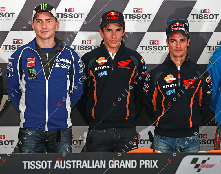 World Moto GP Championship. Round16 @Phillip Island. Australia. <br /> TISSOT Australian Motorcycle Grand Prix. Thuresday. 17.10.2013.<br /> <br /> At the press conference #99 Jorge LORENZO (ESP) Yamaha Factory Racing and #93 Marc MARQUEZ (ESP) and Dani PEDROSA (ESP) from Repsol Honda Team, are the contenders for the 2013 Championship.<br /> <br /> © ATP / Damir IVKA