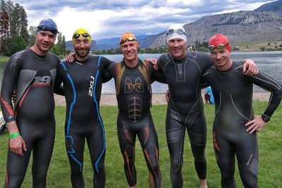 Five dolphins ready to swim