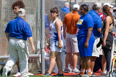 Keilah Garcia of Mission Veterans Memorial took fourth place at the Texas State UIL 4A Track & Field Championships in the Girls Discus event with a best throw of 132.01 feet in Austin on Friday. Nekia Jones (in blue) of Beaumont Ozen took first place with a best throw of 149.09 feet.