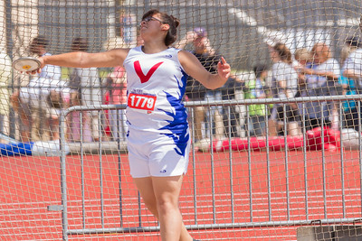 Keilah Garcia of Mission Veterans Memorial took fourth place at the Texas State UIL 4A Track & Field Championships in the Girls Discus event with this best throw of 132.01 feet in Austin on Friday.