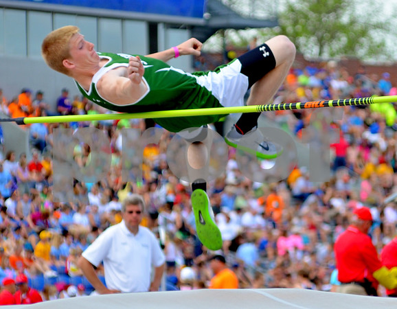 - Messenger photo by Britt Kudla       <br /> St. Edmond's Hank Lentsch competes in the High Jump during State track and field at Drake stadium