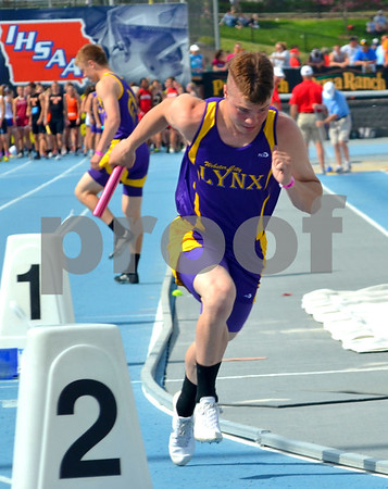 - Messenger photo by Britt Kudla       <br /> Webster City's Nathan Steggal competes in the 4x200 meter relay on Friday during state track and field