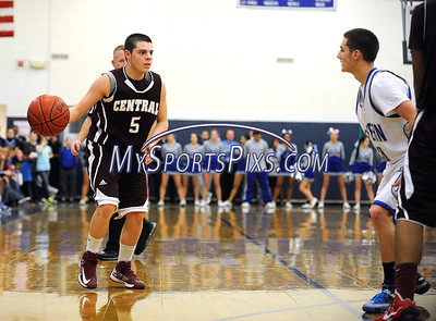 1/18/2013 Mike Orazzi | Staff Bristol Central's Joey DeFillippi (5) at BEHS on Friday night.