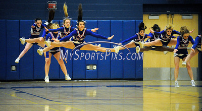 1/15/2013 Mike Orazzi | Staff Plainville High School cheerleaders during the girls basketball game between Bristol Central and Plainville at PHS on Tuesday night.
