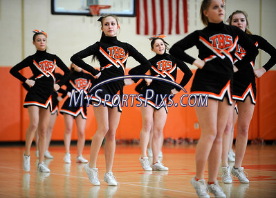 3/5/2013 Mike Orazzi | Staff Terryville High School cheerleaders during the boys Class S First Round game between the Terryville Kangaroos and the Grasso Tech Eagles on Tuesday night.