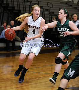 1/24/2013 Mike Orazzi | Staff Bristol Central's Lauren Bossi (4) and Maloney's Chelsea Schott (22) at BCHS on Thursday night.