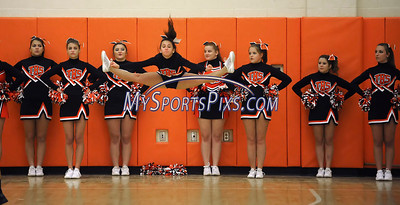 1/2/2013 Mike Orazzi | Staff Terryville High School cheerleaders during Wednesday night's boys basketball game with Northwestern at THS.