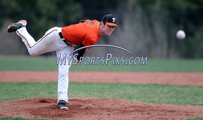 4/19/2013 Mike Orazzi | Staff Terryville's Devin Oakes on the mound against Lewis Mills at THS on Friday.