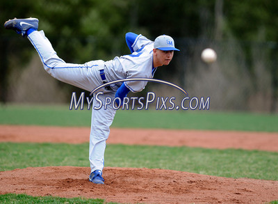 4/19/2013 Mike Orazzi | Staff Lewis Mills' Zane Milbourn (27) on the mound against Terryville at THS on Friday.