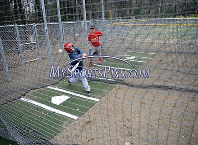 4/18/2013 Mike Orazzi | Staff McCabe Cardinals' Sammy Smith (with bat) and teammate Robert Hubbard work out in the teams new batting cages at the Forestville Little League on Thursday evening.