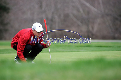 4/16/2013 Mike Orazzi | Staff Berlin's Ryan Marquis during Tuesday's golf match with Bristol Eastern at the Chippanee Golf Club.