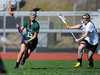 4/25/2013 Mike Orazzi | Staff<br /> Bristol girl's lacrosse's Emily Bourosso (27) and Northwest Catholic's Lauren Bonk (19) at BEHS on Thursday afternoon.