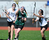 4/25/2013 Mike Orazzi | Staff<br /> Bristol girl's lacrosse's Brittany Lewandowski (5) and Northwest Catholic's Grace Hayes (29) at BEHS on Thursday afternoon.