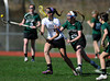 4/25/2013 Mike Orazzi | Staff<br /> Bristol girl's lacrosse's Hannah Lemek (2) and Northwest Catholic's Grace Hayes (29) at BEHS on Thursday afternoon.
