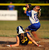 7/26/2013 Mike Orazzi   Staff<br /> New Jersey's Sara Toscano (34) slides safely into second as New York's Kailey Wonica (16) takes the throw during an 11-0 Jersey win in the 2013 Little League Softball Eastern Regional final at Breen Field on Friday night.