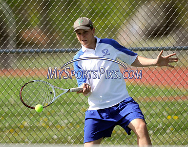 5/7/2013 Mike Orazzi | Staff Bristol Eastern's Nicholas Cimadonduring a boys tennis match with South Windsor at BEHS on Tuesday afternoon.