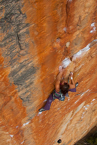 Thas not a hold!! Leslie working the immaculate Serpentine 29 Taipan wall, Grampians