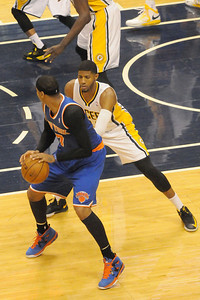 Carmello Anthony was held to 32% shooting by Paul George.