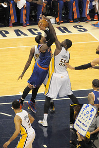 Roy Hibbert was called for a foul against Carmello Anthony prompting some disagreement among the fans.