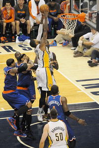 George Hill drives through the Knicks defense for a dunk.