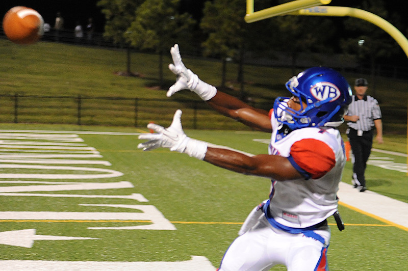 West Brook's James Reed, 7, completes the reception for a 2 point conversion to tie the game with 4:29 in the 2nd quater against Central at the Carroll Thomas Stadium Friday night. Photo provided by Drew Loker.
