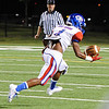 West Brook's Charles Ward, 4, tips the ball for a reception and run for the first West Brook touch down against Central's at the Carroll Thomas Stadium Friday night. Photo provided by Drew Loker.