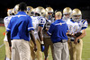 Kelly Bulldogs huddle up for some comments from the coaches at Bridge City Stadium Friday night. Photo provided by Drew Loker.