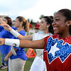 West Brook Bruin Stars motion during the school fight song as they prepare to take on the Ozen Panthers at the Carroll Thomas Stadium Friday night. Photo by Drew Loker.