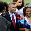 The West Brook Bruin 2014 Homecoming Queen, Mai' Zhare Zeno, poses with her mom and Principal Randall Maxwell at the Carroll Thomas Stadium Friday, Sept 19, 2014. Photo by Drew Loker.