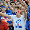 Jacob Tilker, a West Brook Senior, cheers on the Bruins as they take on the Taylor Mustangs at the Carroll Thomas Stadium Friday, Sept 19, 2014. Photo by Drew Loker.