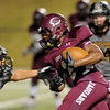Central Jaguar Exavier Jones, 2, manuevers for the endzone against the Vidor Pirates at the Carroll Thomas Stadium October 24, 2014. Photo by Drew Loker