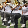 Central Jaguar Alumni Jermaine Stewart, far right, performs before the homecoming game against the Vidor Pirates at the Carroll Thomas Stadium October 24, 2014. Photo by Drew Loker