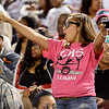 Central Jaguar Silver Stepper Alumni shows her spirit for the game against the Vidor Pirates at the Carroll Thomas Stadium October 24, 2014. Photo by Drew Loker