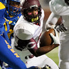 Central Jaguar Exavier Jones, 2, runs for a gain against the Ozen Panthers at the Carroll Thomas Stadium October 17, 2014. Photo by Drew Loker