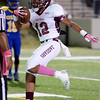 Central Jaguar Devwah Whaley, 12, manuevers into the endzone for the first Jaguar score of the night to tie the game at 7-7 at the Carroll Thomas Stadium October 17, 2014. Photo by Drew Loker