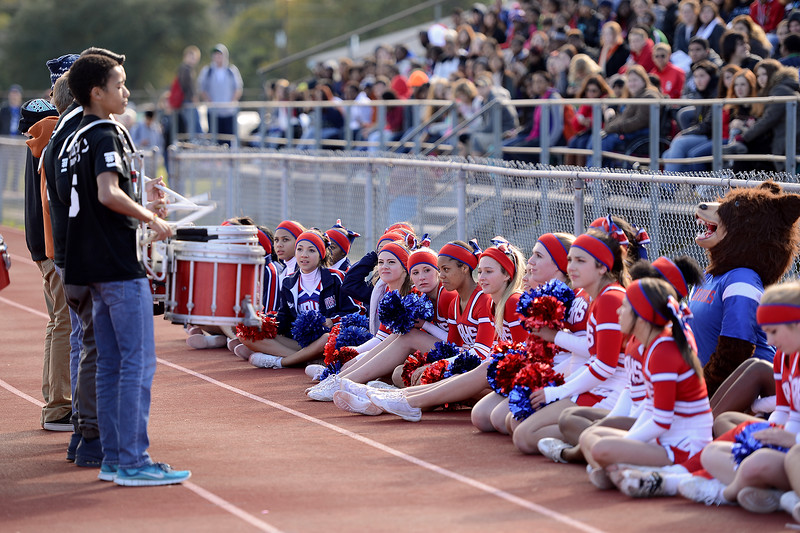The West Brook Bruins participate in an outdoor peprally preparing for the match against the Manvel Mavericks at the Stallworth Stadium in Baytown November 14, 2014. Photo by Drew Loker.
