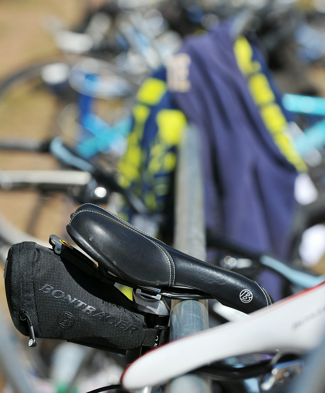 Dozens of competitor's bikes are left on the rack as they run on foot during the Sibley Lake Triathlon and Duathlon Saturday morning at Sibley Lake near Highway 14 in the Bighorn Mountains.