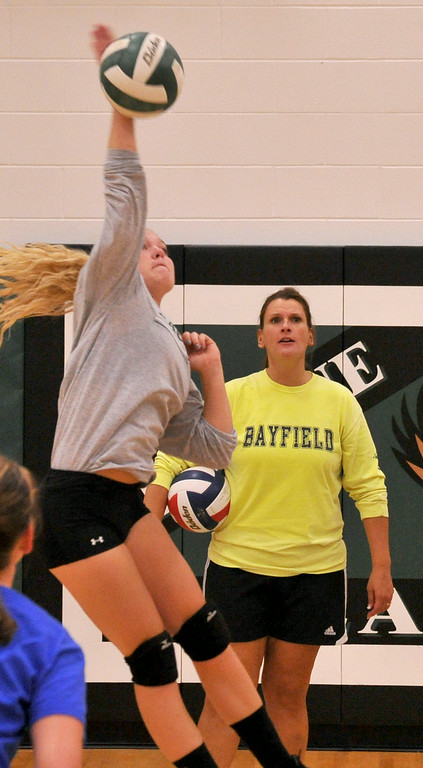 Senior volleyball player Amanda Buller spikes the ball during a drill in practice at Tongue River High School on Wednesday. The Sheridan Press|Mike Pruden