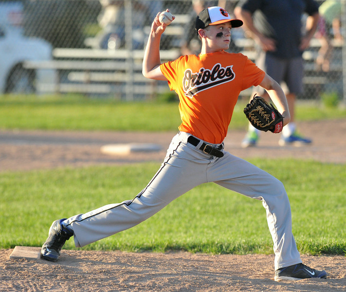 Jacob Boint throws a pitch on Tuesday at the 6th Street Fields. Boint threw a no-hitter to lead the Orioles to a 7-0 victory over the Marlins in the Webb Wright Minor League Championship. The Sheridan Press|Mike Pruden