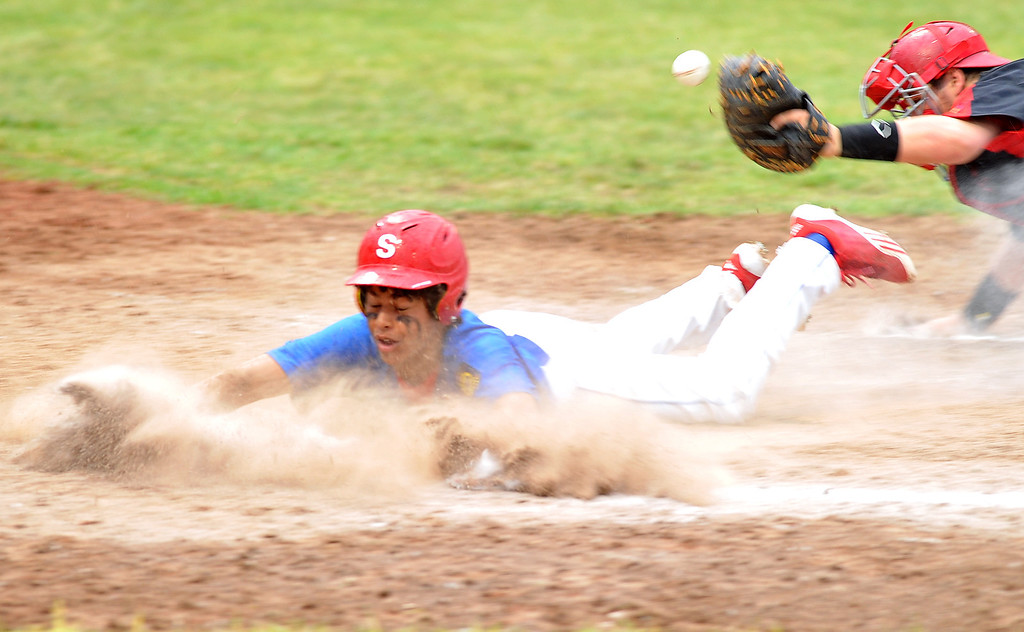 Sheridan Jet Dominic Miller slides safely into home on Tuesday at Thorne-Rider Stadium. The Sheridan Press|Mike Pruden